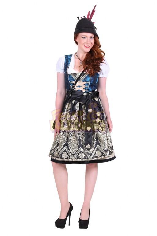 4697c0a1731c97 Dirndl Jurk Anna Blauw-Zwart ☆ Groot aanbod van feestkleding en ...