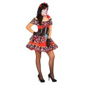 Jurk Day of the Dead Rood 3-delig