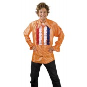 Oranje blouse rood wit blauw ruches