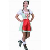 Tiroler jurk kort Sarah groen/wit met schort