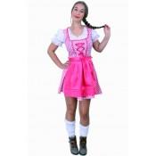 Tiroler jurk kort Lena pink/wit ruitje