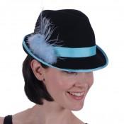 Tiroler dameshoed zwart-tuquoise