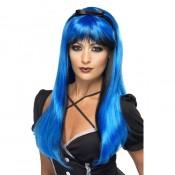 Lange ponypruik Blauw Zwart