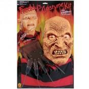 Freddy Krueger Masker, handschoen en shirt set
