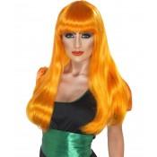 Glamour witch pruik oranje