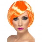 Oranje glamour pruik kort