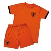 Voetbalshirt en broek oranje retro junior