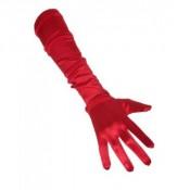 Lange handschoenen rood satijn