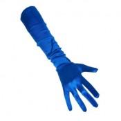 Lange handschoenen blauw satijn