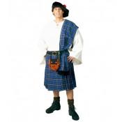Schotse rok, blauw, 4-delige Kilt