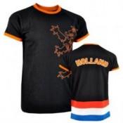 Zwart Holland retro shirt met Leeuw