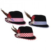 Tiroler dameshoed luxe zwart-rood-wit