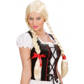 Heidi pruik blonde lange vlechten