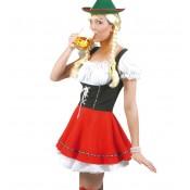 Tiroler jurkje rood/zwart/wit
