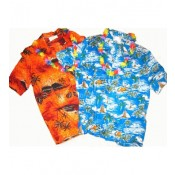 Blouse tropical blauw / oranje