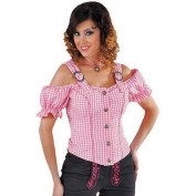 Tiroolse damesblouse Roze Wit