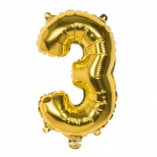 Folieballon goud nummer 3