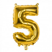 Folieballon goud nummer 5