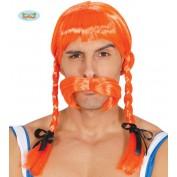 Oranje Viking Pruik