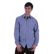 Tiroler geruite blouse blauw wit