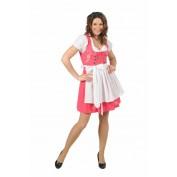dirndl jurk pink wit