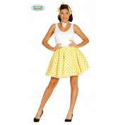 Rock and Roll Rok met petticoat Geel M/L