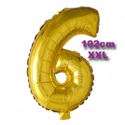 Folie Cijfer Ballon 6 Goud XXL 102cm
