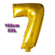 Folie Cijfer Ballon 7 Goud XXL 102cm