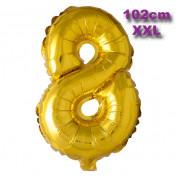 Folie Cijfer Ballon 8 Goud XXL 102cm
