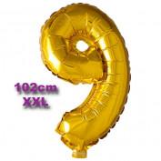 Folie Cijfer Ballon 9 Goud XXL 102cm