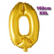 Folie Cijfer Ballon 0 Goud XXL 102cm