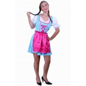Tiroler jurk kort Anna blauw/wit ruitje