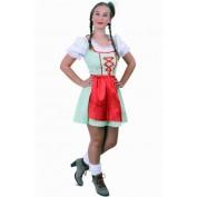 Tiroler jurk kort Sarah groen/wit met rood schortje
