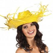 Rieten hoed geel
