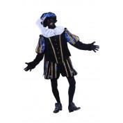 Piet polyesterfluweel blauw-zwart
