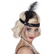 Charleston hoofdband met zwarte veer
