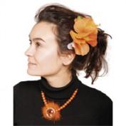 oranje haarclip bloem