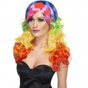 42082 rainbow wig regenboog pruik lang