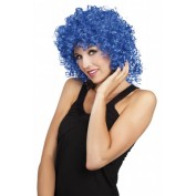 Pruik krullend blauw dames
