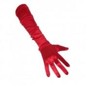 Lange rode handschoenen satjin