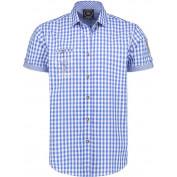 Tiroler blouse blauw korte mouw